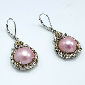 Michael-Valitutti-Two-tone-Sterling-Silver-Mabe-Pearl-and-Ruby-Earrings