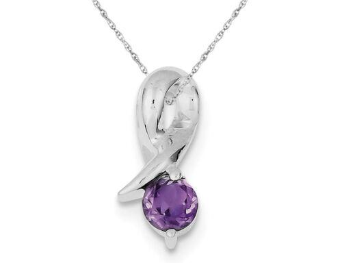 Purple Amethyst Drop Pendant Necklace in Sterling Silver