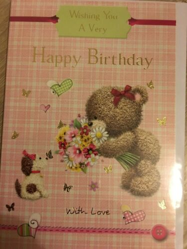 CUTE GENERAL BIRTHDAY CARD PLAID AND PIC WITH VERSE INSIDE WHITE ENVELOPE NEW