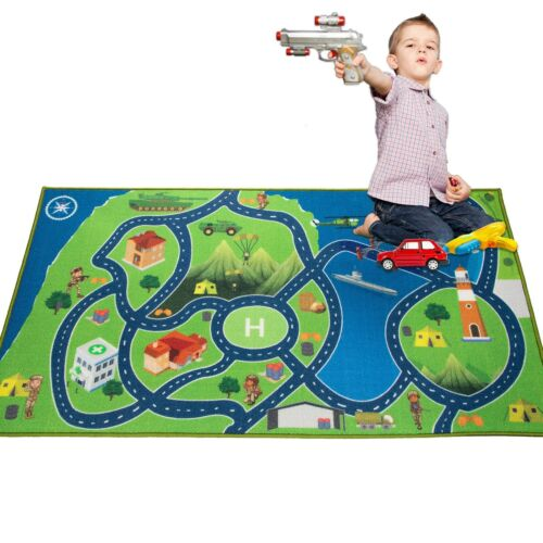 Kids Area Rugs Car Play Crawling Activity Mat Road Floor Bedroom Island Carpets