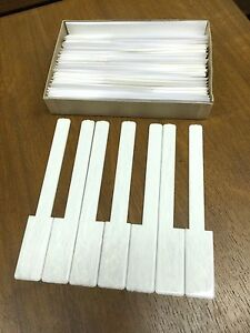 Simulated Ivory Piano Keytops Full Set of 52 Glossy Grained White w/Long Head 2""
