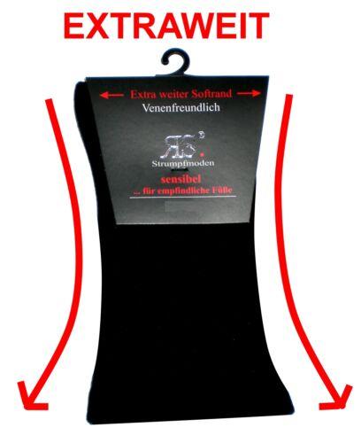 grau Anzugsocken EXTRAWEITE Baumwoll Herrensocken schwarz ohne Gummi beige