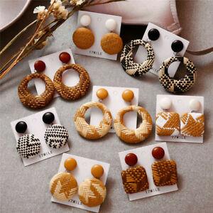 Fashion-Women-Wood-Bamboo-Rattan-Geometric-Circle-Dangle-Earrings-Jewelry-Gift