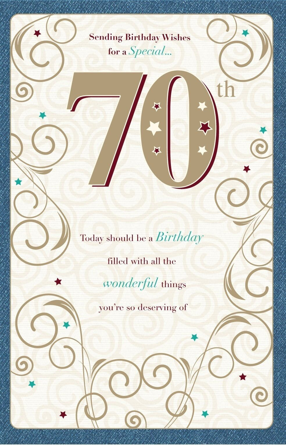 Sending Birthday Wishes For A Special 70th 70 Scroll Design Bright Happy Card Sale Online