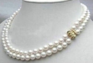 Double-strands-AAAAA-7-8mm-natural-Akoya-white-pearl-necklace-18-14K-GOLD-CLASP