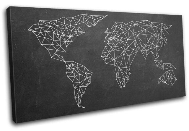 world atlas Geometric  Maps Flags CANVAS WALL ART Picture Print VA