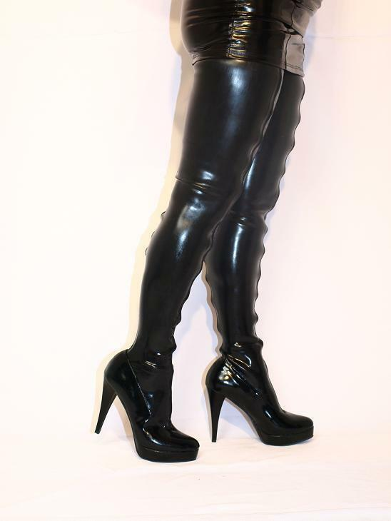 PROMOTION    LATEX RUBBER FETISH bottes Taille 4-12- HEELS 5,5 -13CM POLAND 896