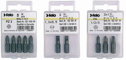 2 per pkg Felo 0715710296 Torx T25 x 1in Bits on 1//4in stock