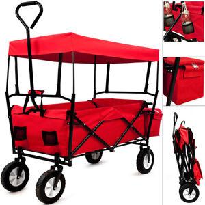 Faltbarer-Bollerwagen-Handwagen-Klappbar-Transportkarre-Geraetewagen-Rot