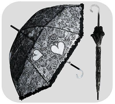 "48"" Arc Clear w/Black Lace Parasol Umbrella - RainStoppers Rain Fashion Travel"