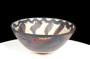 BENNETT-WELSH-SIGNED-STUDIO-ART-POTTERY-REDDISH-BROWN-DRIP-DESIGN-5-1-2-034-BOWL