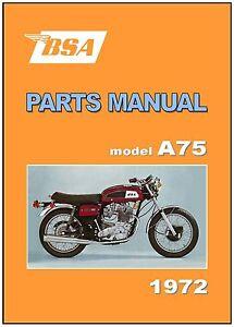bsa parts manual a75 rocket 3 iii 1972 replacement spares catalog rh ebay com BSA Gold Star BSA Lightning