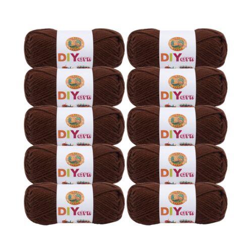 Pack of 10 skeins Lion Brand Yarn 205-126 DIYarn Brown