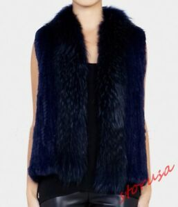 Sleeveless Woven Vest Womens Handmade Rex Real Rabbit Jackets Fur Waistcoat 100 FCwfq84