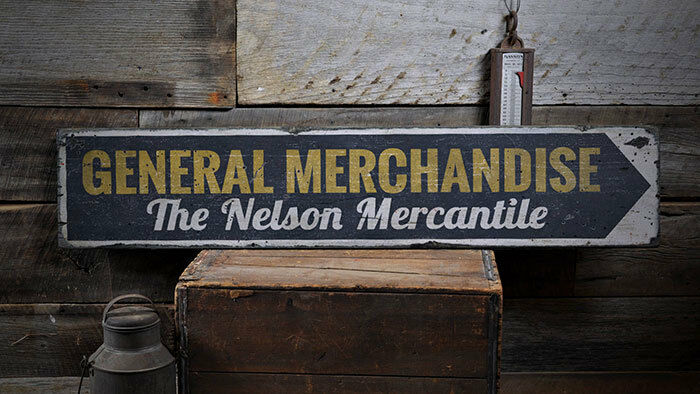 Merchandise Sign, General Store Sign -Distressed Wooden Sign ENS1001951
