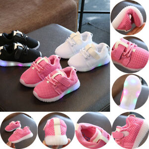 Kids Running Shoes Sneakers LED Light Up Luminous Sport Trainer Baby Boys...