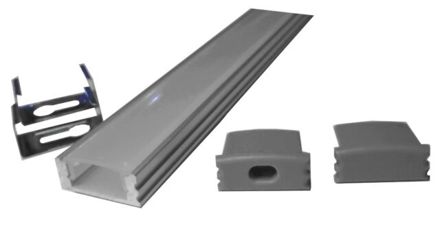 """Led Aluminum Channel (39"""" Long, 2 end caps, 2 mounting clips)"""