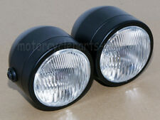 black double dual twin headlight motorcycle lamp street fighter naked  dominator