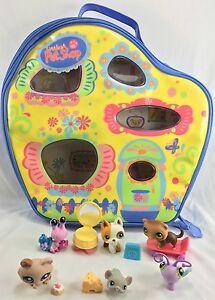 Lot Of Littlest Pet Shop Case Storage House Home Vinyl With Pets & Accessories