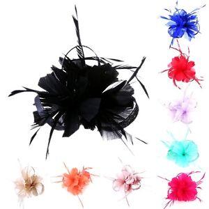 Ladies-Women-Flower-Hair-Clip-Feathers-Small-Mini-Top-Hat-Wedding-Fascinator