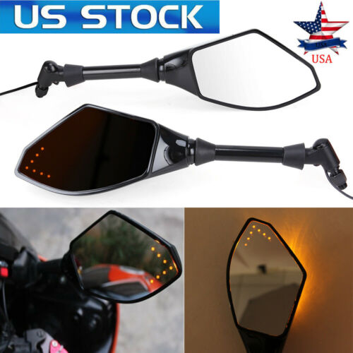 Motorcycle LED Turn Signal Integrated Indicator Light Rearview Mirrors Suzuki US