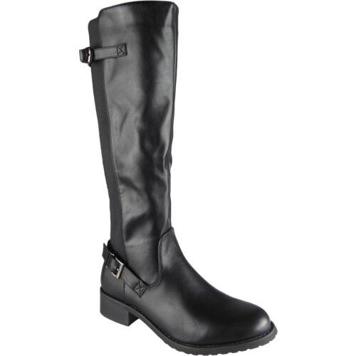 Rider Size Low Stretch Black Heel Casual Long Boots Ladies Biker Womens Calf Winter zq6FP4zx