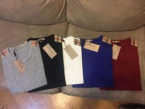Burberry Shoulder Patch T shirt Black White Red Blue Gray S M L