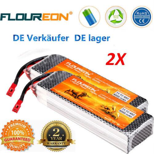 Floureon 2x 3s 11.1v  6000mah 40c li-polimero RC T Plug Battery Batterie per RC Auto  colorways incredibili