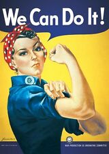 """Rosie the Riveter poster 24 x 36"""" We Can Do It - World War 2 feminist print"""