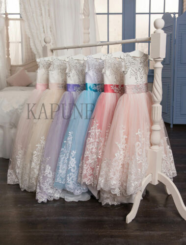 Girl/'s Lace Dresses Bridesmaid Party Princess Prom Wedding Christening 2-14 Year