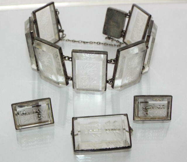 Vintage etched clear Rock Crystal QUARTZ Silver Japan Bracelet Earrings BROOCH