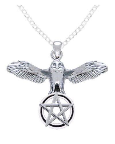 Nouveau Argent Sterling 0.925 Flying Hibou Avec Pentagramme Wiccan Collier Pendentif