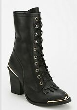 Jeffrey Campbell Black & Gold Deadwood Victorian Lace Up Boots Retails $280.00
