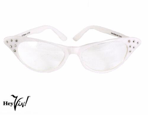 50s Style Cat Eye Glasses w Rhinestones Fun Colors Hey Viv Retro Clear Lens
