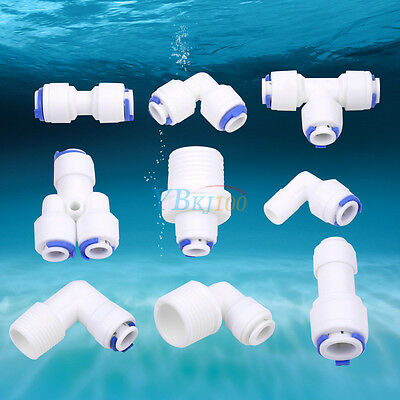 """1/4"""" Push Fit Pipe Tube Fittings Unit Elbow Tee Y-shape Pipe For Water Aquarium"""