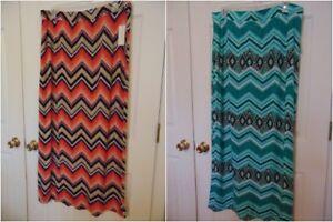 new-WOMENS-Maxi-skirt-teal-orange-chevron-geometric-diaMONDS-1X-2X-3X-T16