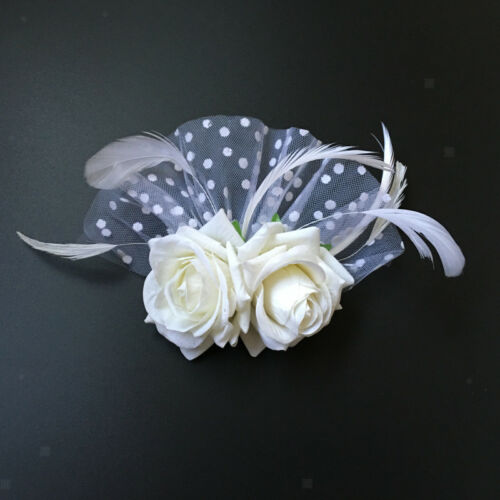 Wedding Fascinator Feather White Flower Clip Hair Accessory Brooch Pin