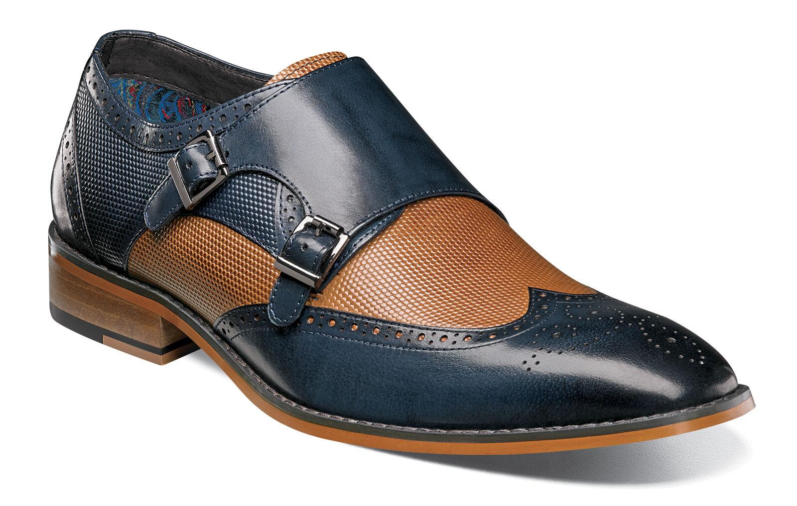 Stacy Adams Lavine Navy Blue/Cognac Double Monk Strap Buckle Shoes Size 9.5 Scarpe classiche da uomo