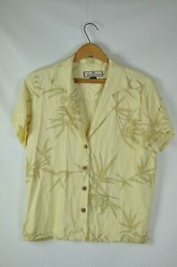 Tommy-Bahama-Silk-Button-Up-Short-Slv-Blouse-Hawaiian-Floral-Yellow-Tan-Lg-Women