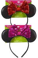 Disney Sequins Minnie Mouse Ears Headband Christmas Halloween Costume Party