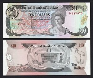 Image Is Loading Belize 10 Dollars 1987 P48a P 5 937973