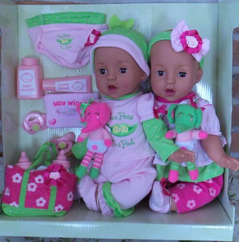 "Twin Baby Dolls 22 Pc Set Reborn realistic 15/"" NIB Brass Key eyes open//close"