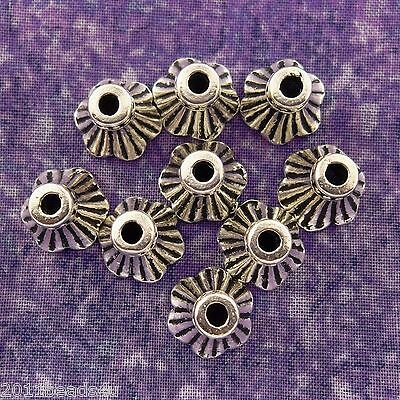Antique Silver Alloy Metal Bell Flower Bead Caps 10 Pieces  9.3mm #0996