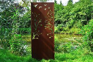 Gartenwand Sichtschutz Wand Baum 3 Stahl Rost 75x195 Cm Ebay