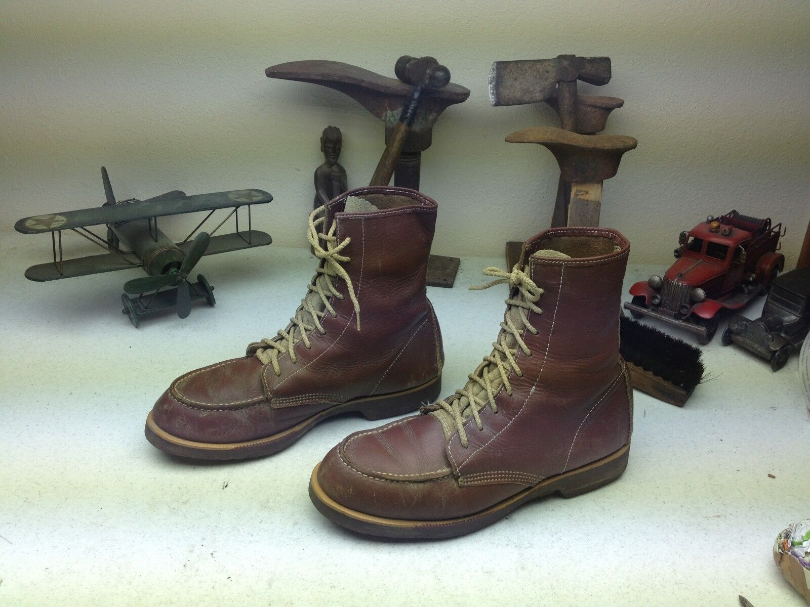 DISTRESSED BROWN OIL RIG ENGINEER WORK CHORE PACKER LACE UP FARM BOOTS SIZE 29.5