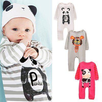 Newborn Infant Baby Boy Girls Animal Romper Jumpsuit Bodysuit Outfit Clothes Set