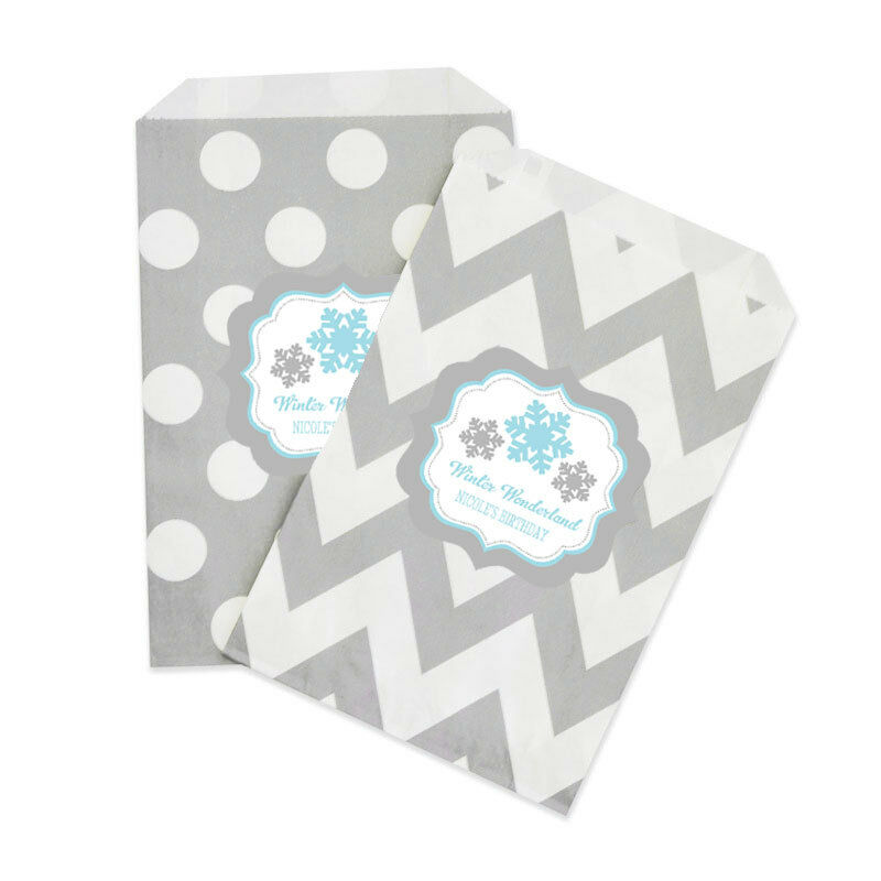 Personalized Winter Snowflake Holiday Wedding Party Goodie Treat Favor Gift Bags