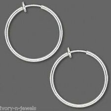 NON PIERCED 35mm HOOPS Silver Plated Brass Perfect for Charms 4 Ear Nose or Lip