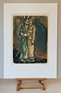 Museal-ORIGINAL-Marc-CHAGALL-Lithographie-449-Rares-EXODUS-Blatt-Anno-1966
