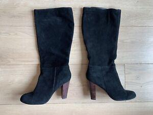 20d84c3fbd2 Details about NEW LOOK Black Suede Calf Below Knee Heeled Boots Size 6  Cuban Heel